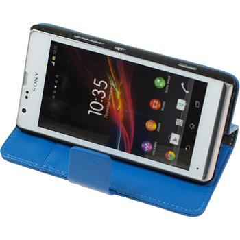 Kunst-Lederhülle für Sony Xperia SP Premium blau + 2 Schutzfolien