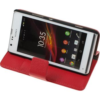 Artificial Leather Case for Sony Xperia SP Premium red