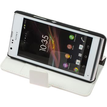 Artificial Leather Case for Sony Xperia SP Premium white