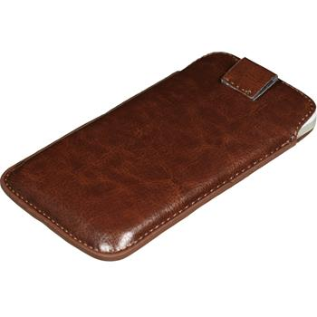Artificial Leather Case for HTC One Bag brown