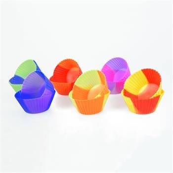 12x Cupcake-Förmchen in 6 verschiedenen mehrfarbigen Versionen Silikon Muffin-Formen Backform