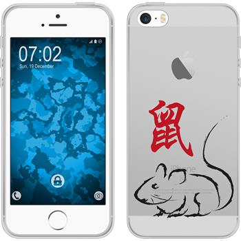 PhoneNatic Apple iPhone 5 / 5s / SE Silikon-Hülle Tierkreis Chinesisch Motiv 1 Case iPhone 5 / 5s / SE Tasche + 2 Schutzfolien