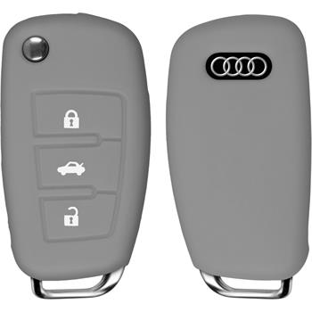 PhoneNatic car key silicone case for 3-Key remote for Audi A3 in gray flip folding 3-Key