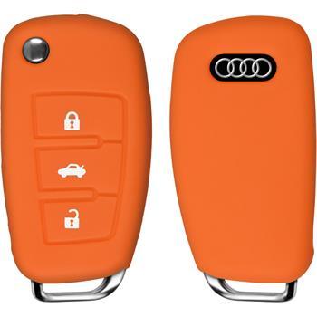 PhoneNatic car key silicone case for 3-Key remote for Audi R8 in orange flip folding 3-Key