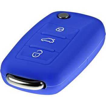 Schlüssel Hülle für die VW 3-Tasten Fernbedienung in blau Klappschlüssel 3-Key