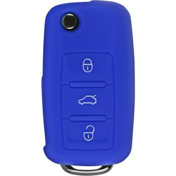 Silikon Schlüssel Hülle  VW 3-Tasten Fernbedienung blau Klappschlüssel