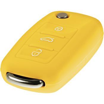 Schlüssel Hülle für die VW 3-Tasten Fernbedienung in gelb Klappschlüssel 3-Key