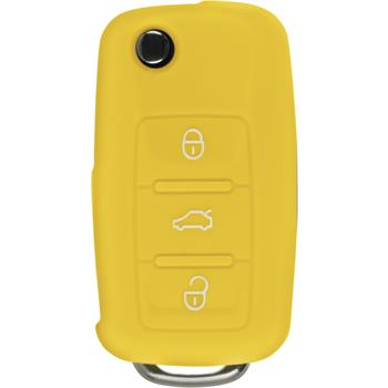 Silikon Schlüssel Hülle  VW 3-Tasten Fernbedienung gelb Klappschlüssel