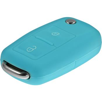 Schlüssel Hülle für die VW 2-Tasten Fernbedienung in hellblau Klappschlüssel 2-Key