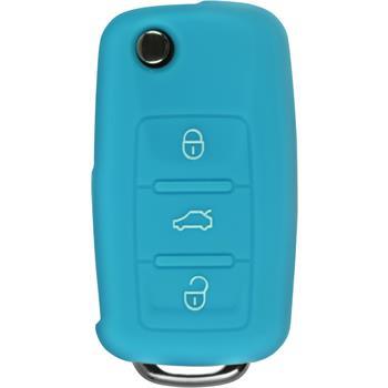 Silikon Schlüssel Hülle  VW 3-Tasten Fernbedienung hellblau Klappschlüssel