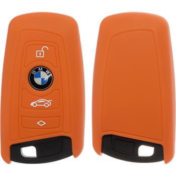 PhoneNatic Klappschlüssel Hülle Silikon orange Case für BMW 3er