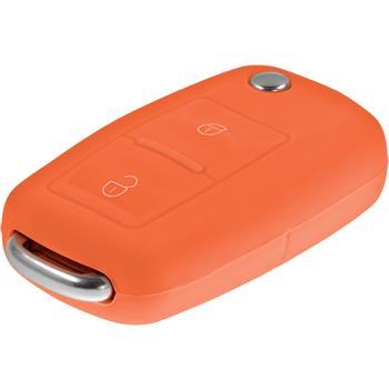 Schlüssel Hülle für die VW 2-Tasten Fernbedienung in orange Klappschlüssel 2-Key