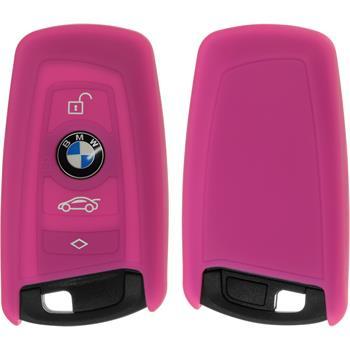 Silikon Schlüssel Hülle für die BMW 3er E90 - 5er F10 - 7er F01 3-Tasten Fernbedienung in pink Funkschlüssel