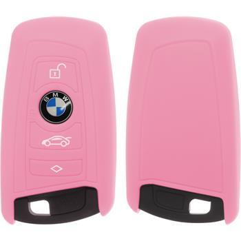 PhoneNatic Klappschlüssel Hülle Silikon rosa Case für BMW 3er