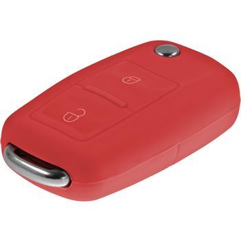 Schlüssel Hülle für die VW 2-Tasten Fernbedienung in rot Klappschlüssel 2-Key