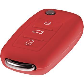 Schlüssel Hülle für die VW 3-Tasten Fernbedienung in rot Klappschlüssel 3-Key
