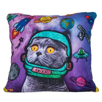 cosey cushion cover 45x45, cushion cover with motif for decorative cushion, sofa cushion - different motifs Polyester D4 Astronaut Cat