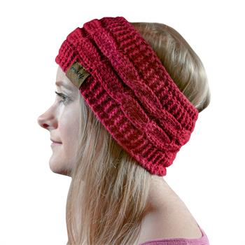 Cosey- lined soft knitted headband with inner fleece in red