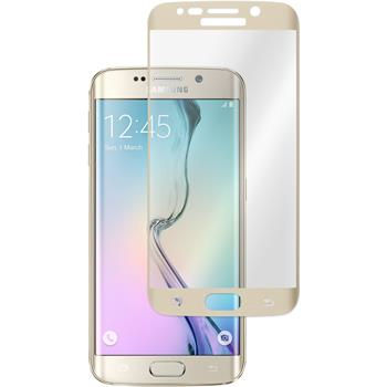 1x Galaxy S6 Edge klar Glasfolie gold