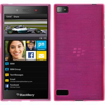 Silicone Case for BlackBerry Z3 brushed hot pink