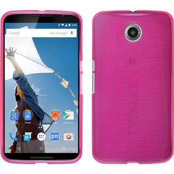 Silicone Case for Google Motorola Nexus 6 brushed hot pink