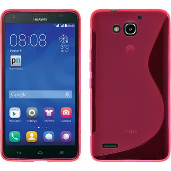 Silicone Case for Huawei Honor 3X G750 S-Style hot pink