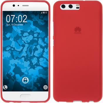 Silicone Case P10 matt red + protective foils