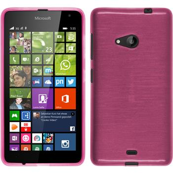Silicone Case for Microsoft Lumia 535 brushed hot pink