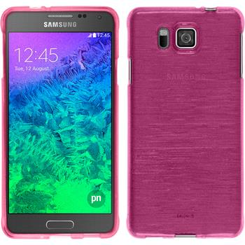 Silicone Case for Samsung Galaxy Alpha brushed hot pink