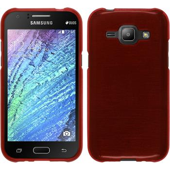 Silicone Case for Samsung Galaxy J1 brushed red
