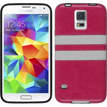 Silicone Case for Samsung Galaxy S5 Neo Stripes hot pink