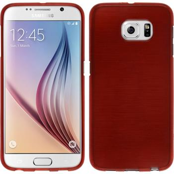 Silicone Case for Samsung Galaxy S6 brushed red