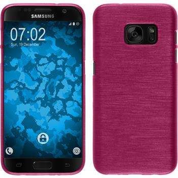 Silicone Case for Samsung Galaxy S7 brushed hot pink