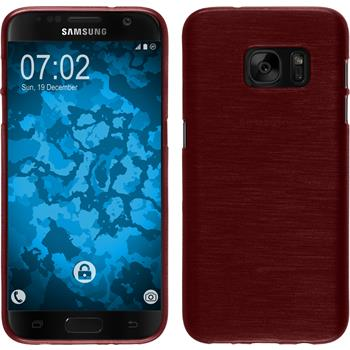 Silicone Case for Samsung Galaxy S7 brushed red