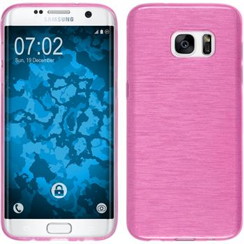 Silicone Case for Samsung Galaxy S7 Edge brushed hot pink