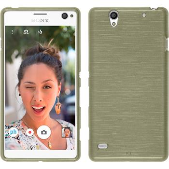 Silicone Case for Sony Xperia C4 / Dual brushed gold
