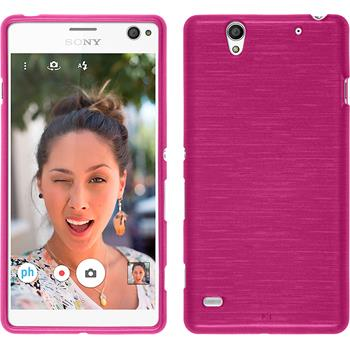 Silicone Case for Sony Xperia C4 / Dual brushed hot pink