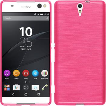 Silicone Case for Sony Xperia C5 Ultra brushed hot pink