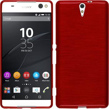 Silicone Case for Sony Xperia C5 Ultra brushed red