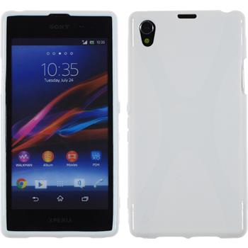 Silikon Hülle Xperia Z1 X-Style weiß + 2 Schutzfolien