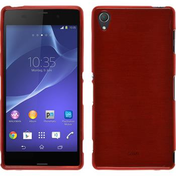Silicone Case for Sony Xperia Z3 brushed red