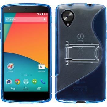 Silikon Hülle Nexus 5  blau + 2 Schutzfolien