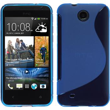 Silikon Hülle Desire 300 S-Style blau + 2 Schutzfolien
