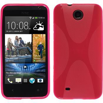 Silikon Hülle Desire 300 X-Style pink + 2 Schutzfolien