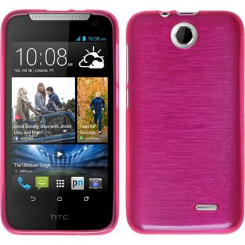 Silicone Case for HTC Desire 310 brushed hot pink