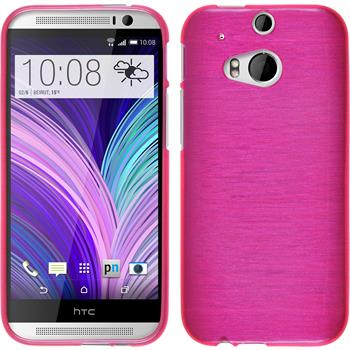 Silicone Case for HTC One M8 brushed hot pink