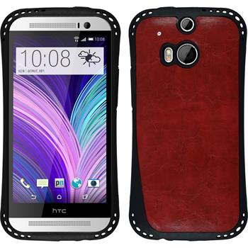 Silicone Case for HTC One M8 leather optics red