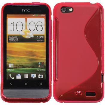Silicone Case for HTC One V S-Style hot pink