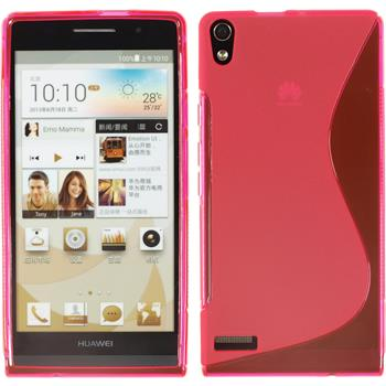 Silikonhülle für Huawei Ascend P6 S-Style pink