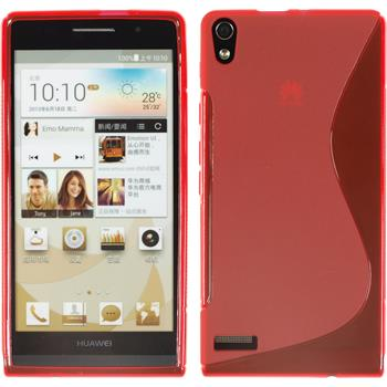 Silicone Case for Huawei Ascend P6 S-Style red